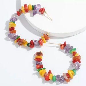 Zara Colorful Rainbow Stone Hoop earrings